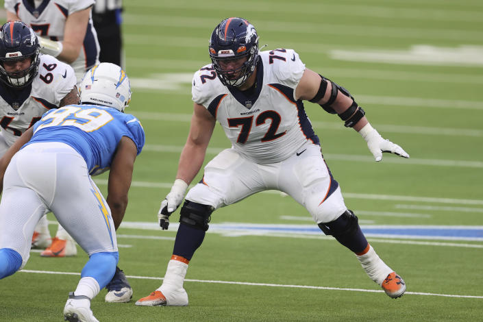 FILE - Denver Broncos offensive tackle Garett Bolles (72) blocks during an NFL football game against the Los Angeles Chargers in Inglewood, Calif., in this Sunday, Dec. 27, 2020, file photo. The Broncos declined Bolles' fifth-year option in 2020 but by November had given him a $68 million, four-year extension. (AP Photo/Peter Joneleit, FIle)