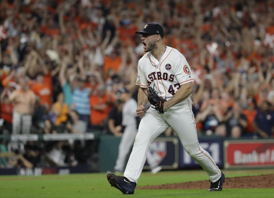 Houston Astros starting pitcher Lance McCullers Jr. reacts after getting New York Yankees' Aaron Judge to strike out during the eighth inning of Game 7 of baseball's American League Championship Series Saturday, Oct. 21, 2017, in Houston. (AP)