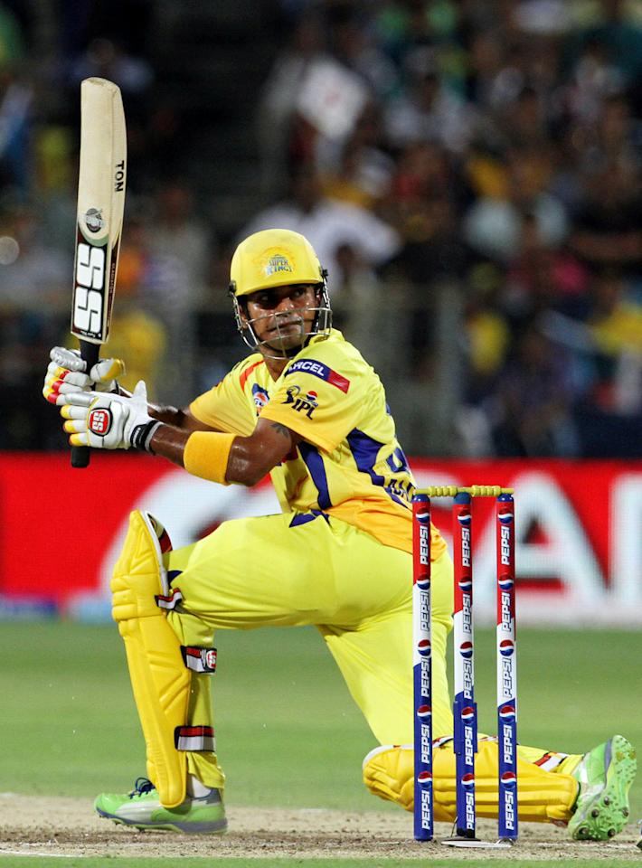 Chennai Super King player Subramaniam Badrinath plays a shot during match 42 of the Pepsi Indian Premier League ( IPL) 2013  between The Pune Warriors India and the Chennai Superkings held at the Subrata Roy Sahara Stadium, Pune on the 30th April  2013. (BCCI)