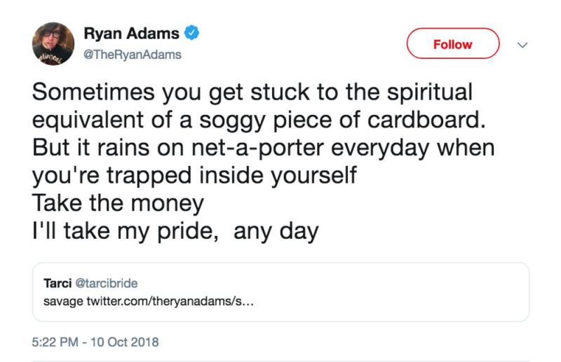 Ryan Adams' tweet