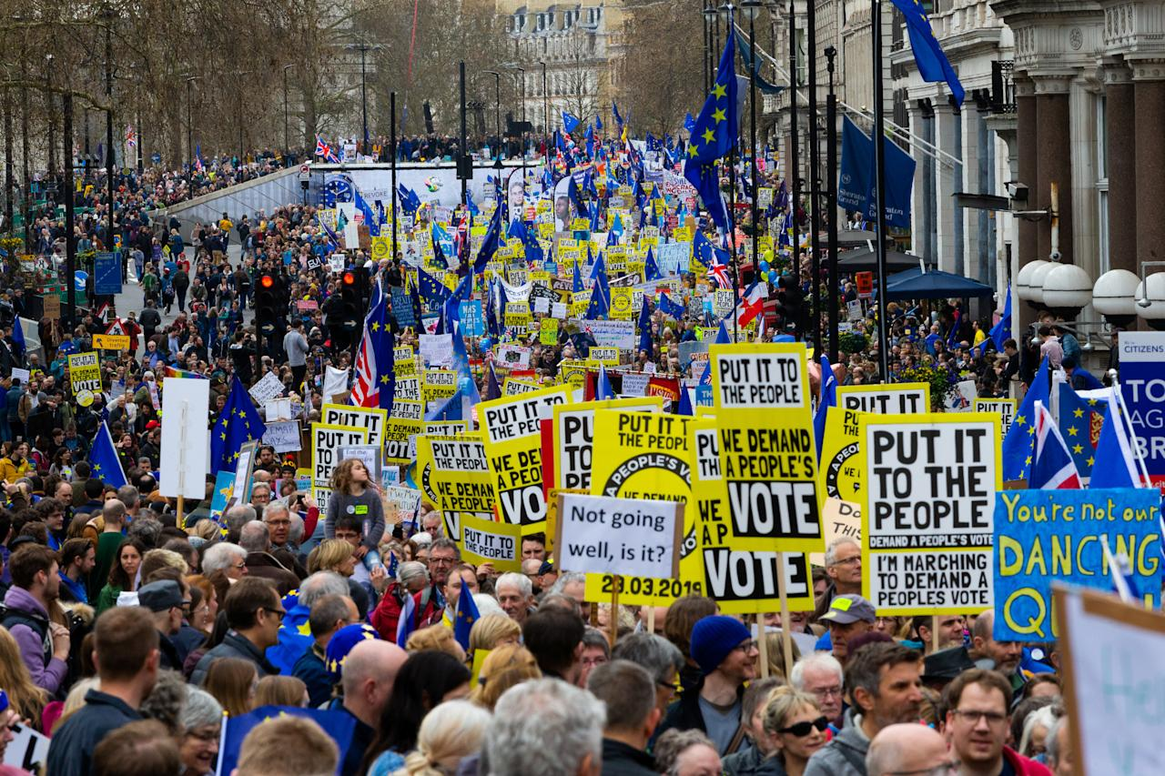 <p>Organisers of the Put it to the People march claimed one million people joined the peaceful procession through the capital [Picture: SWNS] </p>