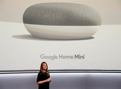 FILE PHOTO: Isabelle Olsson, Google's Head of Industrial Design for Home, speaks about the Google Home Mini during a launch event in San Francisco, California, U.S. October 4, 2017. REUTERS/Stephen Lam/File Photo