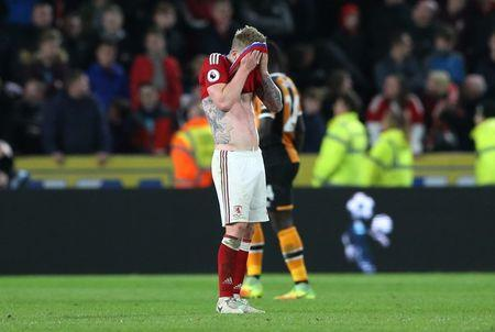 Britain Soccer Football - Hull City v Middlesbrough - Premier League - The Kingston Communications Stadium - 5/4/17 Middlesbrough's Adam Clayton looks dejected after the match Reuters / Scott Heppell Livepic