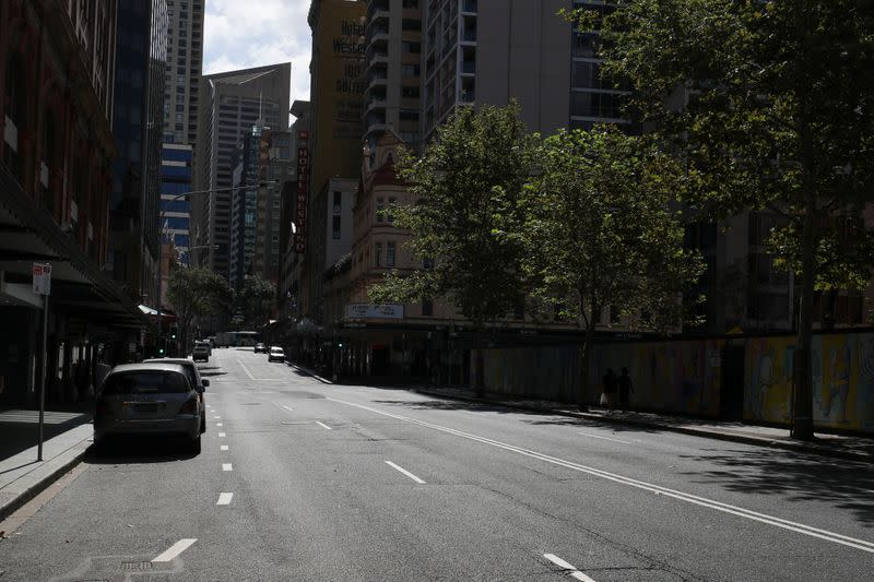 An almost empty street is seen during a workday following the implementation of stricter social-distancing and self-isolation rules to limit the spread of the coronavirus disease (COVID-19) in Sydney