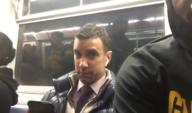 "James Michael Angelo wasn't happy about being ""squished"" by <a class=""link rapid-noclick-resp"" href=""/nba/players/3704/"" data-ylk=""slk:LeBron James"">LeBron James</a> and Co. on the subway. (Uninterrupted screen shot)"