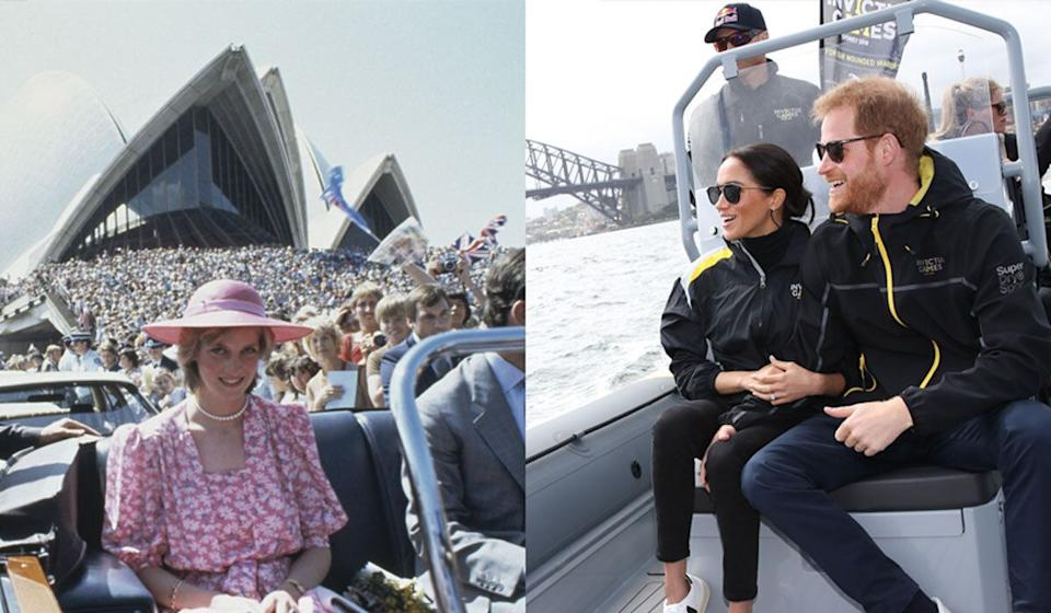 Princess Diana in Sydney in 1983 and Meghan Markle and Prince Harry on Sydney Harbour in 2018 (Photo: Getty)
