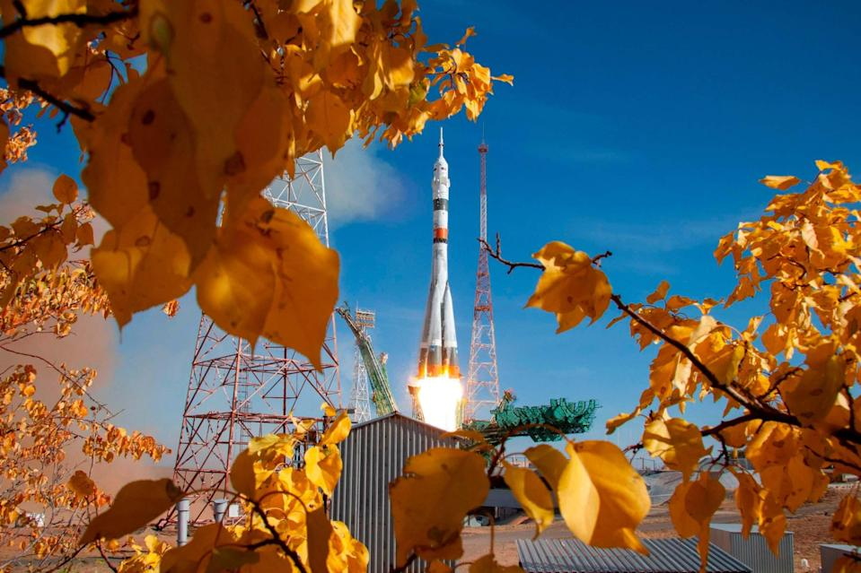Soyuz spacecraft launching on Wednesday (AFP via Getty Images)