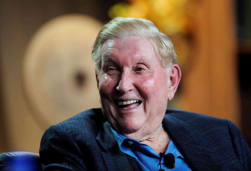 FILE PHOTO: Redstone laughs at a comment during the 2008 Milken Institute Global Conference in Beverly Hills