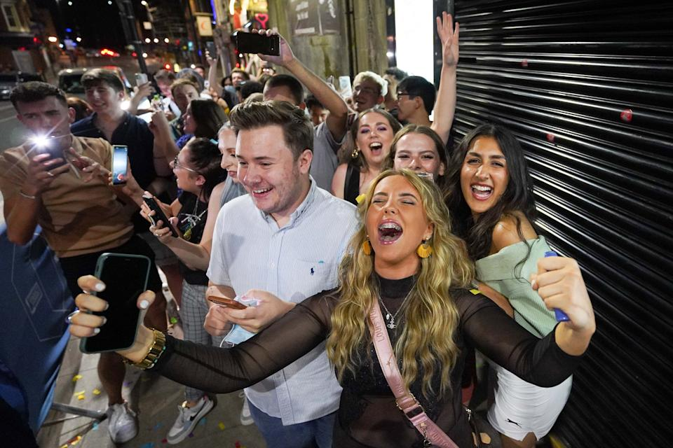 People queuing for Bar Fibre in Leeds, after the final legal coronavirus restrictions were lifted in England at midnight. Picture date: Monday July 19, 2021.