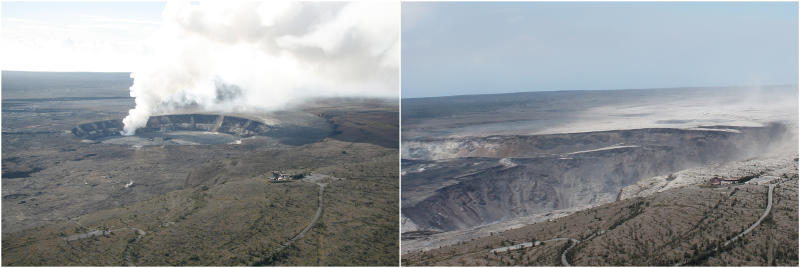 These 2018 images released by the United States Geological Survey, USGS, shows past, left, and present views of Kilauea's summit in Hawaii. At left is a photo taken on Nov. 28, 2008, with a distinct gas plume rising from the vent that had opened within Halemaumau about eight months earlier. At right is a photo taken on August 1, 2018, to approximate the 2008 view for comparison. Hawaii Volcanoes National Park will reopen its main gates Saturday, Sept. 22, 2018, welcoming carloads of visitors eager to see Kilauea's new summit crater and the area where a longstanding lava lake once bubbled near the surface. The park has been closed for 135 days as volcanic activity caused explosive eruptions, earthquakes and the collapse of the famed Halemaumau crater. (USGS via AP)