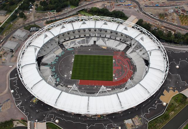 LONDON, ENGLAND - JULY 26: Aerial view of the Olympic Stadium which will host the athletics events during the London 2012 Olympic Games on July 26, 2011 in London, England. (Photo by Tom Shaw/Getty Images)