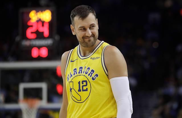 """While he has committed to play in Australia again next season, <a class=""""link rapid-noclick-resp"""" href=""""/nba/players/3927/"""" data-ylk=""""slk:Andrew Bogut"""">Andrew Bogut</a> isn't ruling out a return to the NBA again next spring. (AP/Jeff Chiu)"""