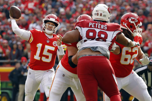 Kansas City Chiefs quarterback Patrick Mahomes (15) has his team headed toward the No. 1 seed in the AFC. (AP)