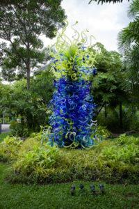 Chihuly Studio's 'Sea Blue and Green Tower' at the World of Plants. Photo: Coconuts