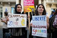Women join a demonstration outside the French Embassy in London on August 26, 2016 (AFP Photo/Justin Tallis)
