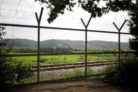 A South Korea's guard post is seen behind a barbed-wire fence near the demilitarized zone separating the two Koreas in Paju, South Korea, July 14, 2017. REUTERS/Kim Hong-Ji
