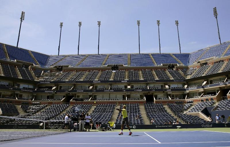 Spain's Rafael Nadal practices a day before the US Open tennis tournament, Sunday, Aug. 25, 2013, in New York. (AP Photo/Charles Krupa)