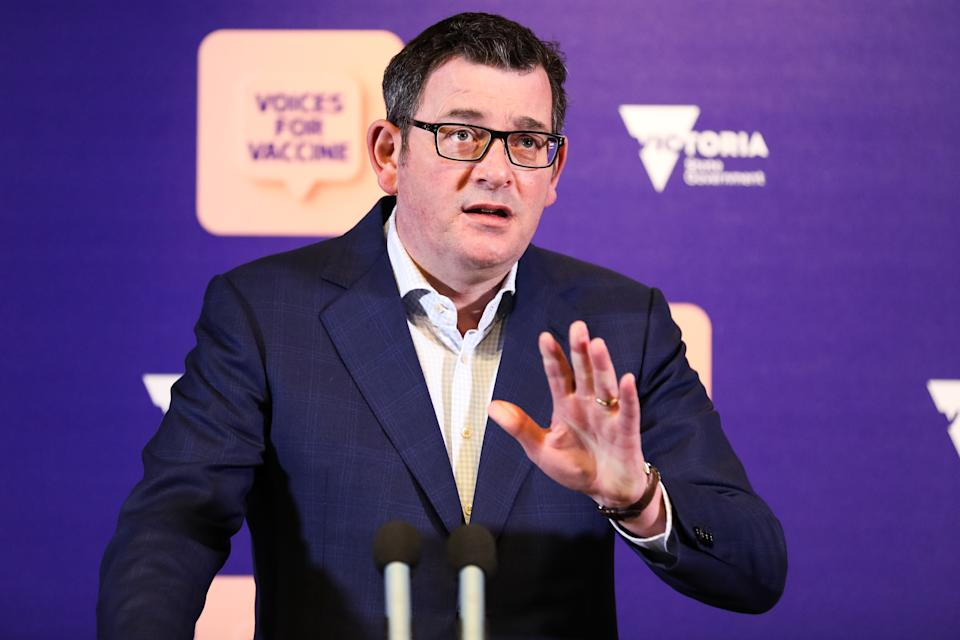 MELBOURNE, AUSTRALIA - AUGUST 21: Victorian premier Daniel Andrews speaks during a press conference on August 21, 2021 in Melbourne, Australia. Premier Daniel Andrews has announced regional Victoria will enter a lockdown from 1pm today. Victoria recorded 61 new positive cases in the last 24 hours, with only 22 of those cases in isolation during their infectious period. (Photo by Asanka Ratnayake/Getty Images)