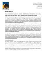 FILO MINING MOBILIZES FOR 2020/21 FIELD PROGRAM TARGETING EXPANSION AND DEFINITION OF THE 1.2 TO 1.6 BILLION TONNE EXPLORATION TARGET (CNW Group/Filo Mining Corp.)