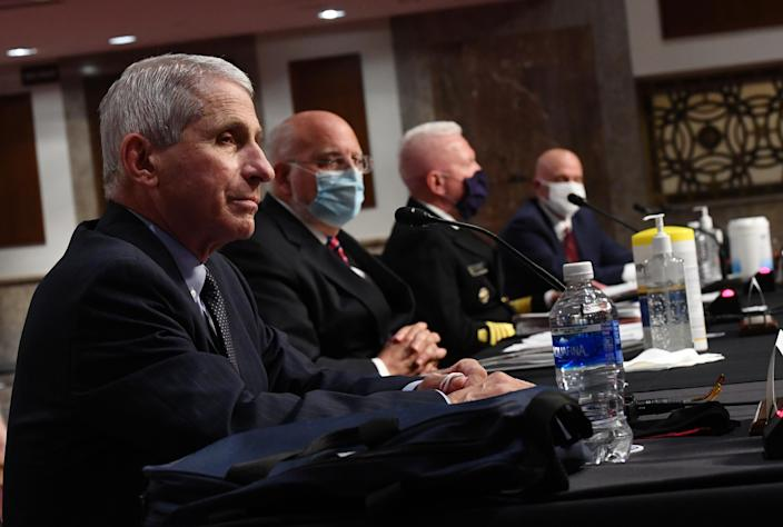From left, Dr. Anthony Fauci, director of the National Institute for Allergy and Infectious Diseases, and others testify before the Senate Health, Education, Labor and Pensions Committee on Tuesday. (Kevin Dietsc/AFP via Getty Images)