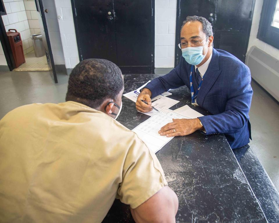 "Robert Igoe, a counselor and coordinator with New York City's Correctional Health Services, said many voters at Rikers were ""surprised"" when they learned they were still eligible to vote."