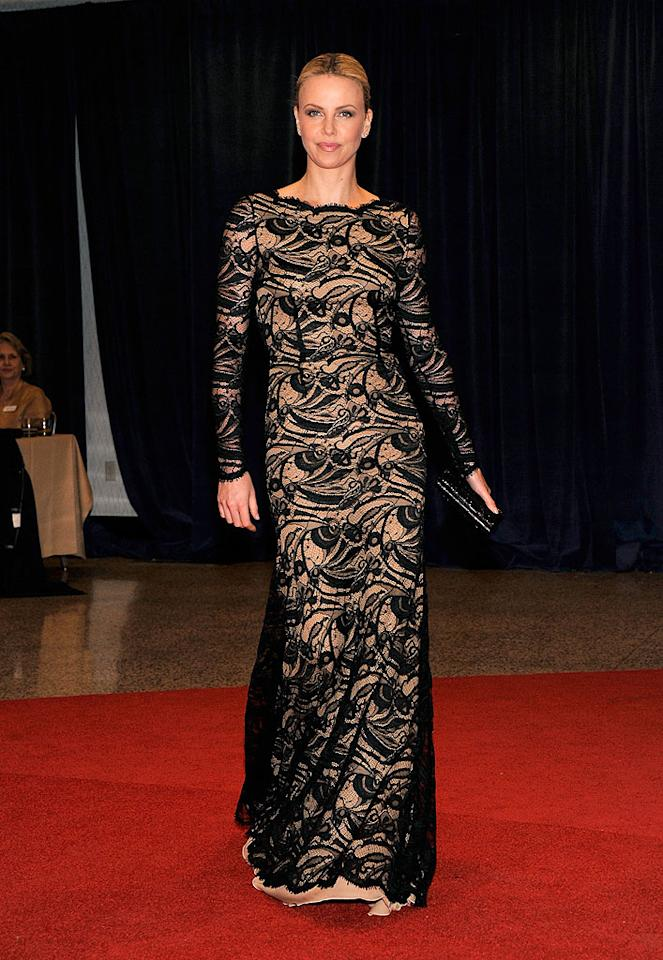 "<p class=""MsoNormal""></p>New mom Charlize Theron, who was invited to the D.C. bash by Politico, looked stunning as always in a black lace number.  <p class=""MsoNormal""></p>"