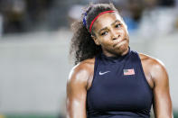 <p>Serena Williams of the United States reacts after losing against Elina Svitolina of Ukraine in a Women's Singles Third Round match on Day 4 of the Rio 2016 Olympic Games at the Olympic Tennis Centre on August 9, 2016 in Rio de Janeiro, Brazil. (Photo by William Volcov/Brazil Photo Press/LatinContent/Getty Images) </p>