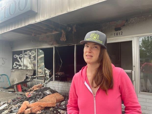 Theresa Sapergia says she's not sure what her next steps will be after a fire destroyed her business. (Andrew Kurjata/CBC - image credit)