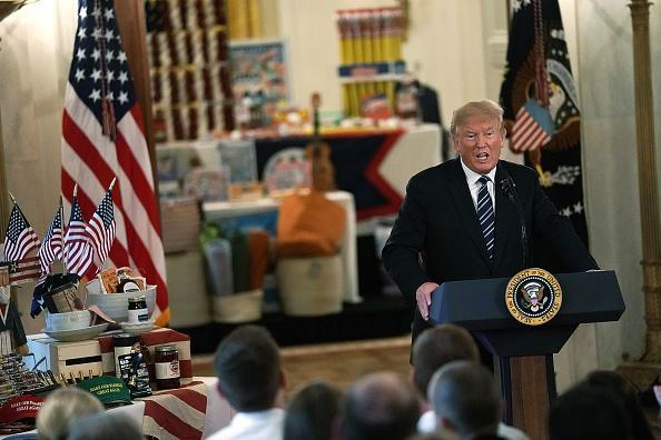 U.S. President Donald Trump speaks during the 2018 Made in America Product Showcase event July 23, 2018 in Washington, DC. The White House held the showcase to 'celebrates every state's effort and commitment to American-made products, and will allow these companies to speak with senior Administration officials, including the President, the Vice President, members of the Cabinet, and senior staff.' (Photo by Alex Wong/Getty Images)