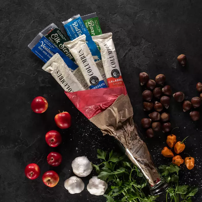 """<strong><h3>Exotic Meats Grand Bouquet</h3></strong><br>Nothing says 'I love you' more than a beautifully crafted bouquet of exotic salami and jerkies. <br><br><strong>Man Crates</strong> Exotic Meats Grand Bouquet, $, available at <a href=""""https://go.skimresources.com/?id=30283X879131&url=https%3A%2F%2Fwww.mancrates.com%2Fstore%2Fproducts%2Fexotic-meats-grand-bouquet"""" rel=""""nofollow noopener"""" target=""""_blank"""" data-ylk=""""slk:Man Crates"""" class=""""link rapid-noclick-resp"""">Man Crates</a>"""