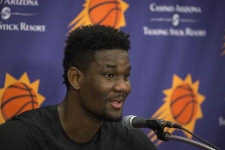 June 6, 2018; Phoenix, AZ, USA; Deandre Ayton talks with the media after his pre-draft workout at the Talking Stick Resort Arena. Mandatory Credit: Mark Henle/The Arizona Republic-USA TODAY NETWORK