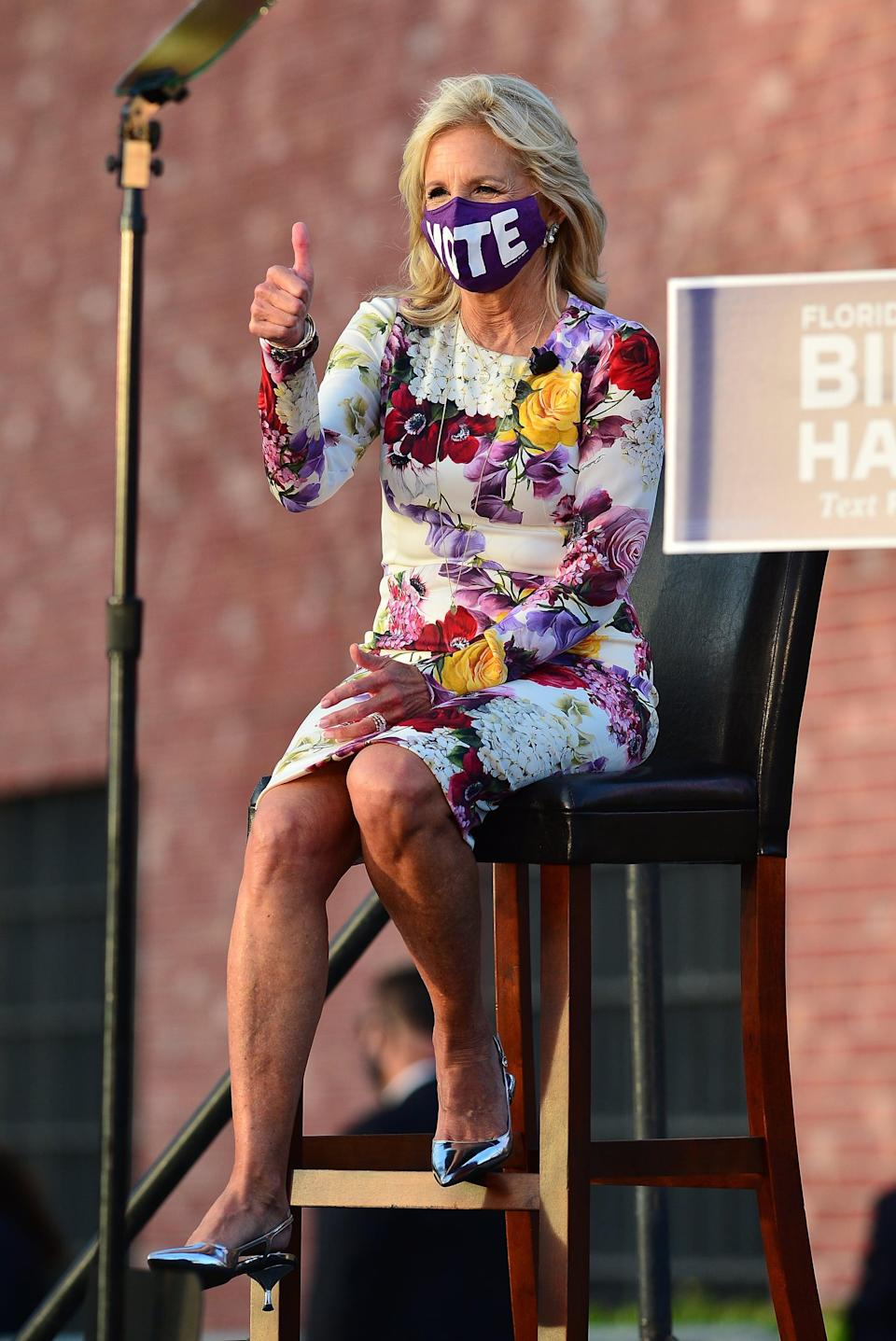 <p>Dr. Biden wore her fair share of slogans and encouraging messages throughout the 2020 campaign, most regularly encouraging Americans to cast their ballots with her VOTE mask.</p>