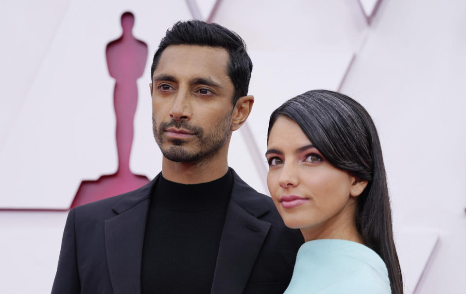Riz Ahmed and Fatima Farheen Mirza attend the 93rd Annual Academy Awards at Union Station on April 25, 2021. (Photo by Chris Pizzello-Pool/Getty Images)