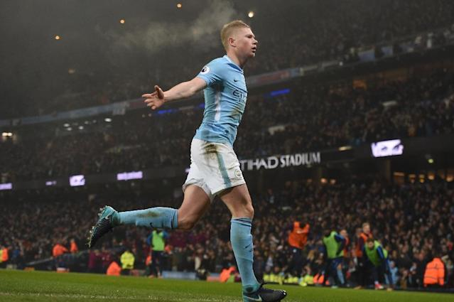 Manchester City's Kevin De Bruyne celebrates after scoring during their match against Tottenham Hotspur in Manchester, north west England, on December 16, 2017 (AFP Photo/PAUL ELLIS )
