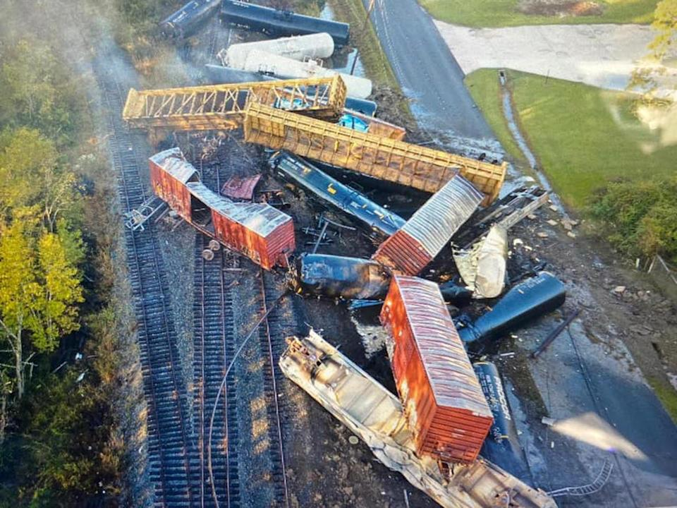 An aerial image from a drone shows train cars scattered over tracks after a derailment in Mauriceville, Texas, on October 29, 2020. / Credit: Orange County Sheriff's Office