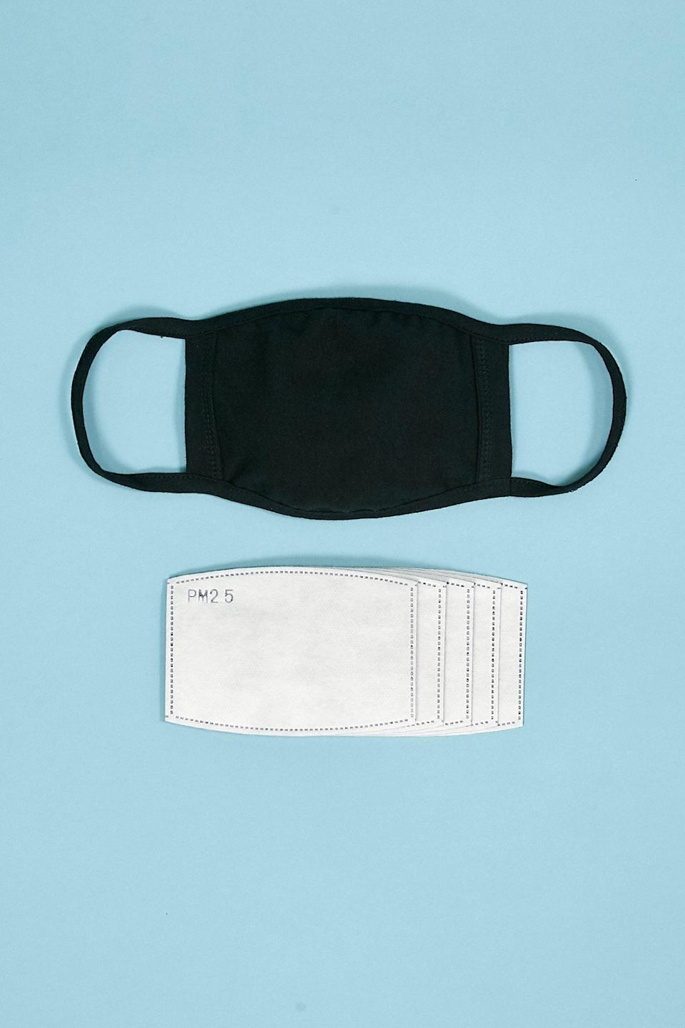 <p>You can't go wrong with this all-black <span>Filter Included Pocket Cloth Face Mask</span> ($12).</p>