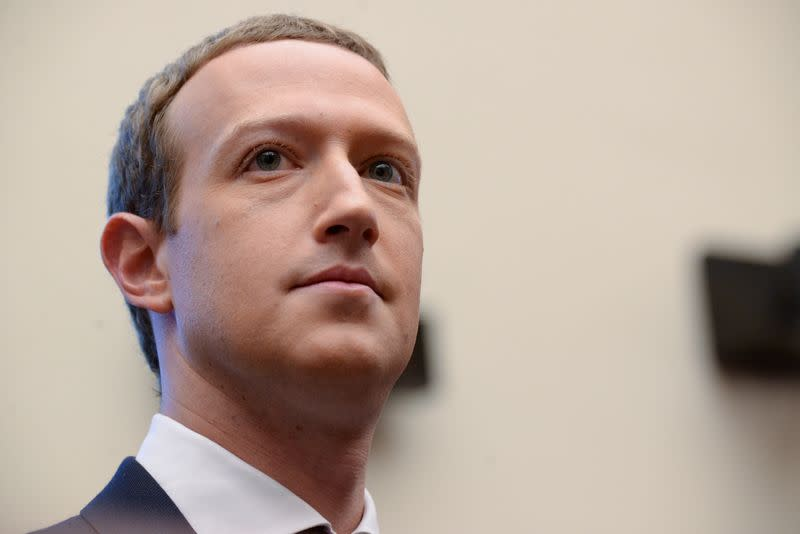 Facebook Chairman and CEO Zuckerberg testifies at a House Financial Services Committee hearing in Washington