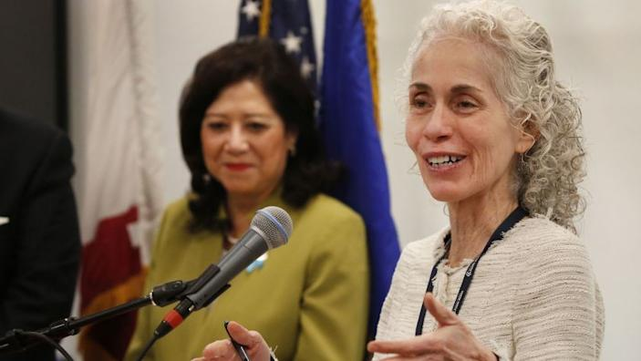 """Barbara Ferrer, Los Angeles County's director of public health, speaks at a news conference on May 1, 2018. <span class=""""copyright"""">(Los Angeles Times)</span>"""