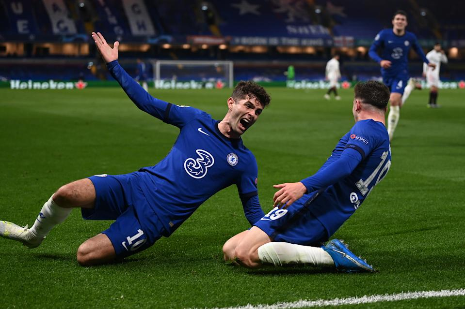 Christian Pulisic (right) set up Mason Mount's goal as Chelsea advanced to the Champions League final on Wednesday. (Photo by Darren Walsh/Chelsea FC via Getty Images)