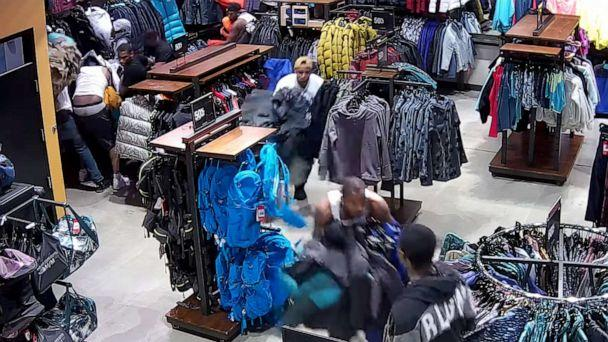 PHOTO: This image made from video shows a flash mob grabbing merchandise from a North Face store in Wisconsin this week. (Pleasant Prairie Police Dept. via Storyful)