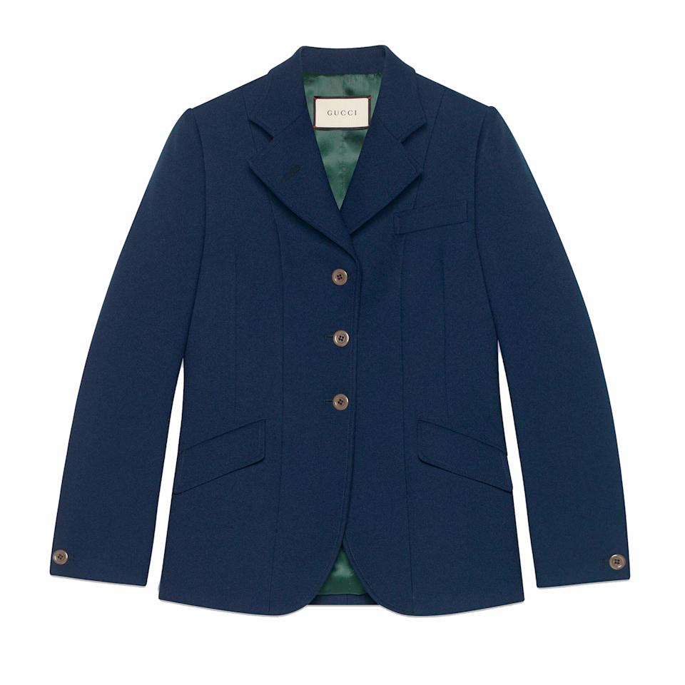 "<p>Leave it to this Italian powerhouse to create a fluid drill jacket as part of their Fall Winter 2019 three-piece suit. Even so, it is versatile enough to accompany jeans and a T-shirt through the season.</p> <p><strong>Buy Now:</strong> Gucci, drill fitted jacket, $2,300, <a href=""https://www.gucci.com/us/en/pr/women/womens-ready-to-wear/womens-jackets/womens-blazers/fluid-drill-fitted-jacket-p-582469Z798C4486?position=5&listName=ProductGrid&categoryPath=Women/Womens-Ready-to-Wear/Womens-Jackets"">gucci.com</a>.</p>"