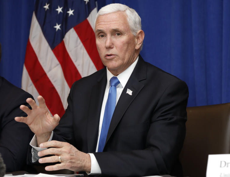 Vice President Mike Pence speaks during a Florida Coronavirus Response Meeting, at the West Palm Beach International Airport, Friday, Feb. 28, 2020, in West Palm Beach, Fla. (AP Photo/Terry Renna)