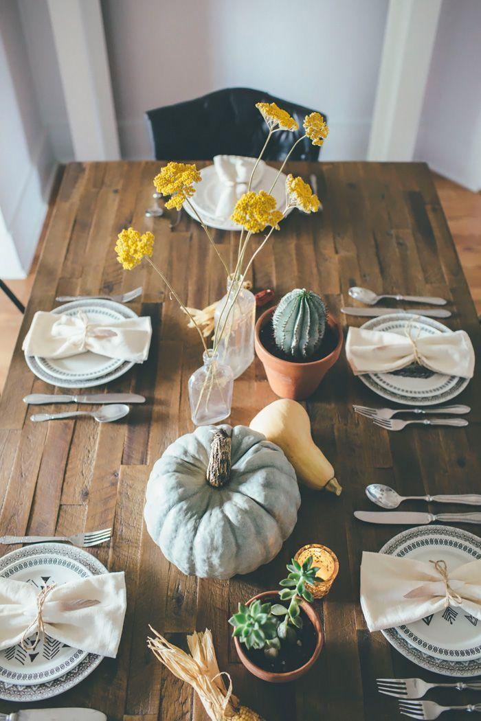 """<p>Who said Thanksgiving tables have to be elaborate? Blogger Alice ditched a table runner in favor of an elegant arrangement of succulents, gourds, and Indian corn. </p><p><strong>Get the tutorial at <a href=""""http://www.thoughtsfromalice.com/2015/11/rustic-bohemian-thanksgiving-tablescape.html"""" rel=""""nofollow noopener"""" target=""""_blank"""" data-ylk=""""slk:Thoughts From Alice"""" class=""""link rapid-noclick-resp"""">Thoughts From Alice</a>. </strong> </p><p><a class=""""link rapid-noclick-resp"""" href=""""https://www.amazon.com/artificial-flowers/b?ie=UTF8&node=14087331&tag=syn-yahoo-20&ascsubtag=%5Bartid%7C10050.g.2130%5Bsrc%7Cyahoo-us"""" rel=""""nofollow noopener"""" target=""""_blank"""" data-ylk=""""slk:SHOP FAUX FLOWERS"""">SHOP FAUX FLOWERS </a></p>"""