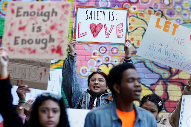<p>Youths take part in a National School Walkout anti-gun march in New York City, April 20, 2018. (Photo: Brendan McDermid/Reuters) </p>