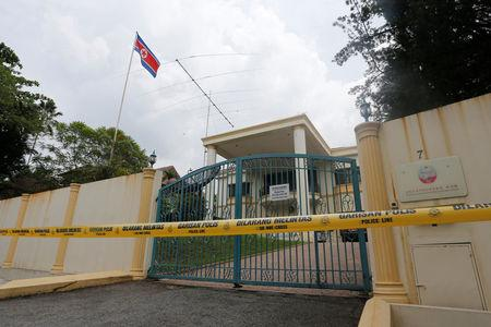A view of the North Korea embassy that has been sealed off in Kuala Lumpur