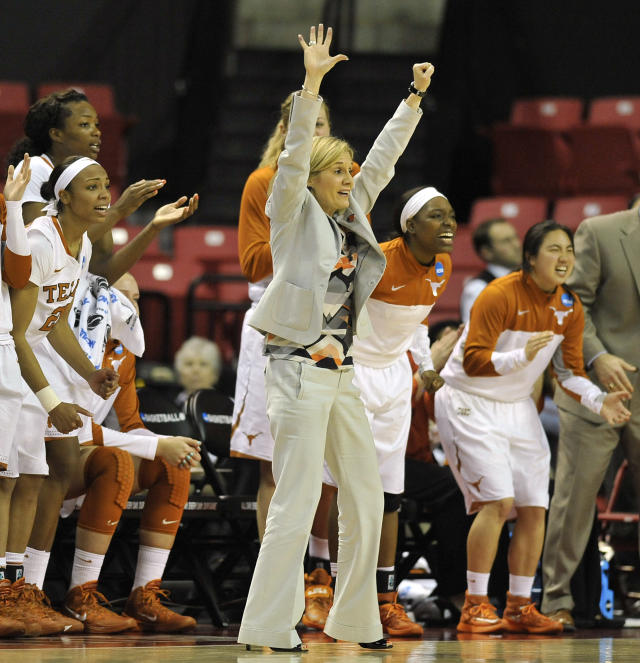Texas head coach Karen Aston and the bench react as they take the lead during the second half against Penn in the first round of the NCAA women's college basketball tournament on Sunday, March 23, 2014, in College Park, Md.(AP Photo/Gail Burton)