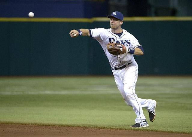 Tampa Bay Rays second baseman Ben Zobrist throws out Baltimore Orioles' Manny Machado at first base after fielding his grounder during the ninth inning of a baseball game in St. Petersburg, Fla., Friday, Sept. 20, 2013.(AP Photo/Phelan M. Ebenhack)