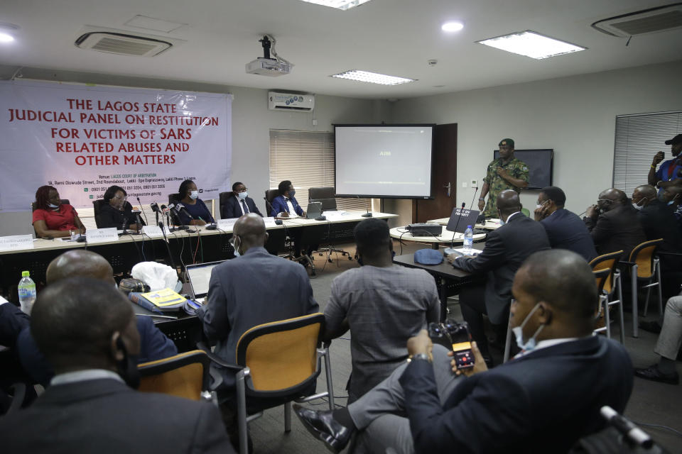 In this photo taken on Saturday Nov. 14, 2020. Brig. Gen. Ahmed Taiwo, Commander of the 81 Military Intelligence Brigade, speaks to a judicial committee, in Lagos Nigeria. Nigeria's army has said after weeks of denial that its troop did fire shots into the air to disperse a large crowd at the Lekki Toll Plaza in Lagos where several peaceful protesters were killed late in October. (AP Photo/Sunday Alamba)