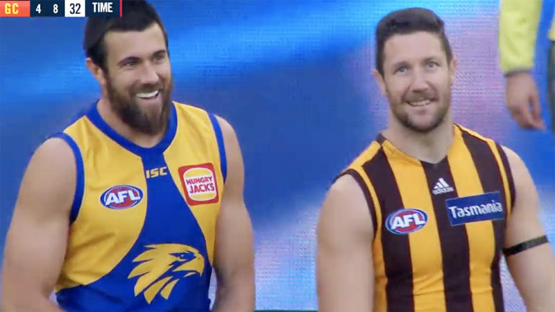 Josh Kennedy and James Frawley, pictured here having a laugh together.
