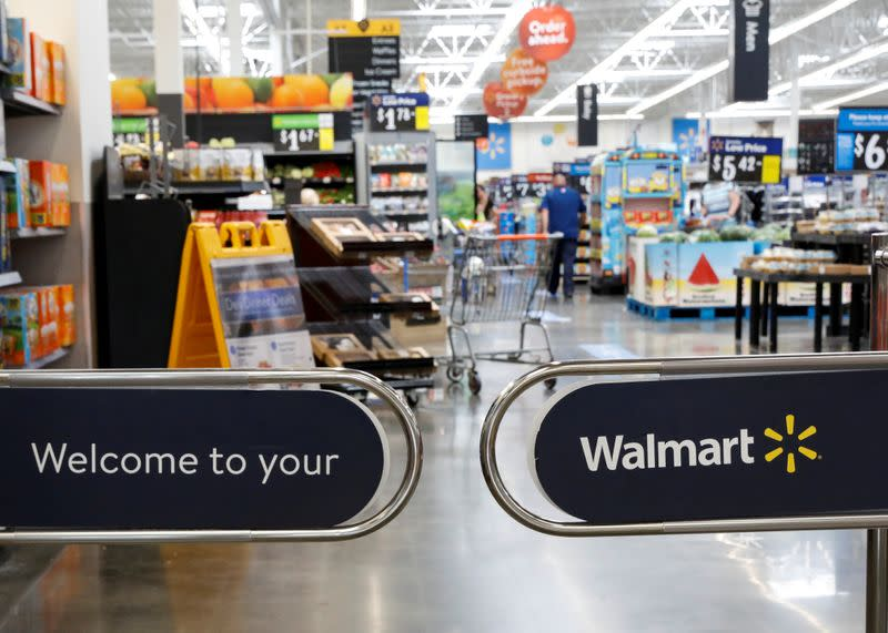 FILE PHOTO: The entrance to a Walmart store is seen in Bradford, Pennsylvania